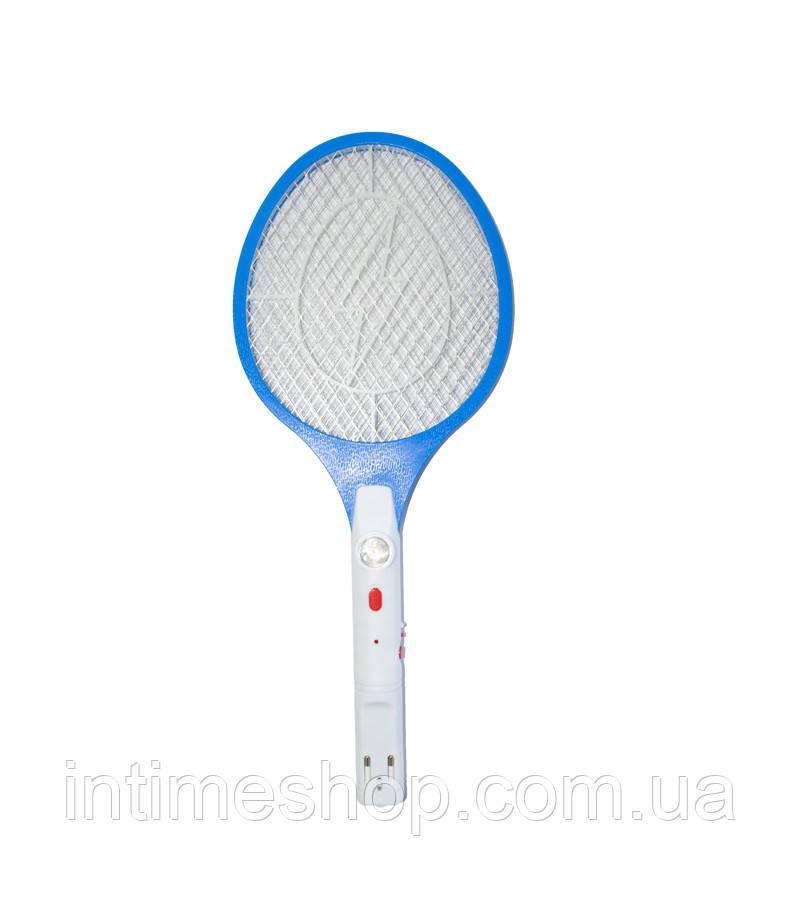 Электрическая мухобойка с фонариком Синяя, ракетка для убийства мух, комаров   електромухобійка (TI)