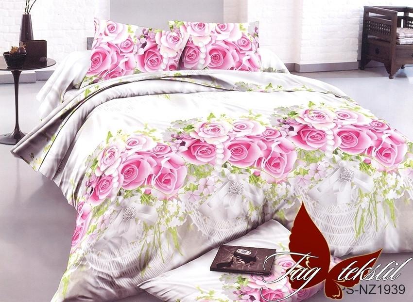 Комплект постельного белья семейный из полисатина и цветочным принтом с 3D эффектом PS-NZ1939
