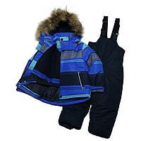 Теплый зимний комбинезон для мальчика 104-110 рост синий