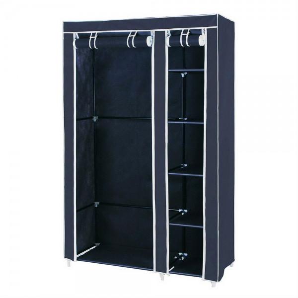 Портативний тканинний шафа-органайзер для одягу на 2 секції, колір темно-синій, з доставкою