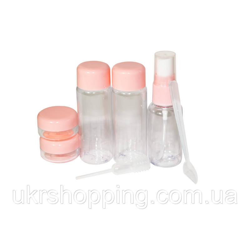 Распродажа! Дорожный набор емкостей для путешествий, Розовый, пластик (7 емкостей/уп.)