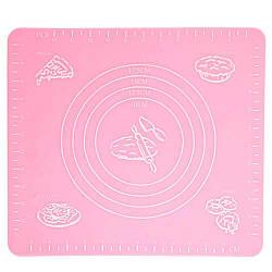 Силіконовий килимок для запікання 29x26 см, колір - Рожевий, килимок для тесту силіконовий