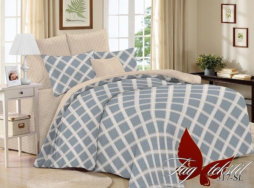 Полуторный комплект постельного белья поплин с компаньоном SL317