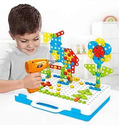 Детский пластмассовый конструктор для мальчика (3, 4, 5, 6 лет) Creative Puzzle 4in1 с шуруповертом (GK)