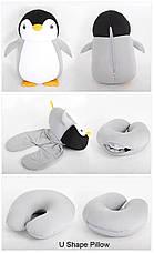 Подушка-игрушка Трансформер дорожная для шеи антистресс  ПІНГВІНЯТКО СІРЕ, фото 3