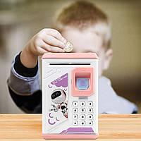 Игрушечный детский сейф с электронным кодовым замком для детей Fingerprint копилка детская (Розовая) (NV), фото 1