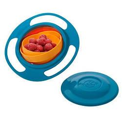 Детская тарелка непроливайка Gyro Bowl Синяя, детская тарелка   непроливайка для дітей (GK)