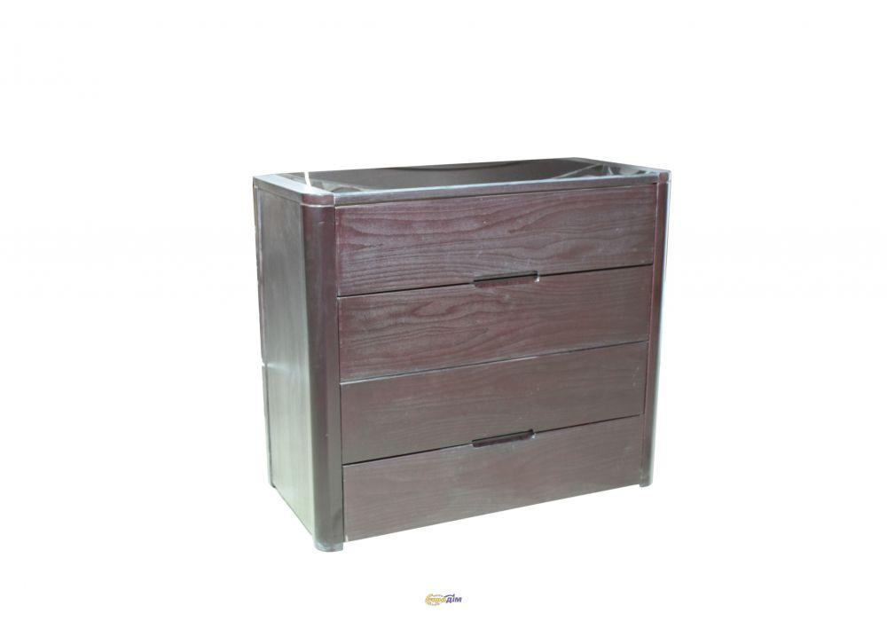 Комод широкий Милан темный орех на 4 ящика, ольха+МДФ+стекло