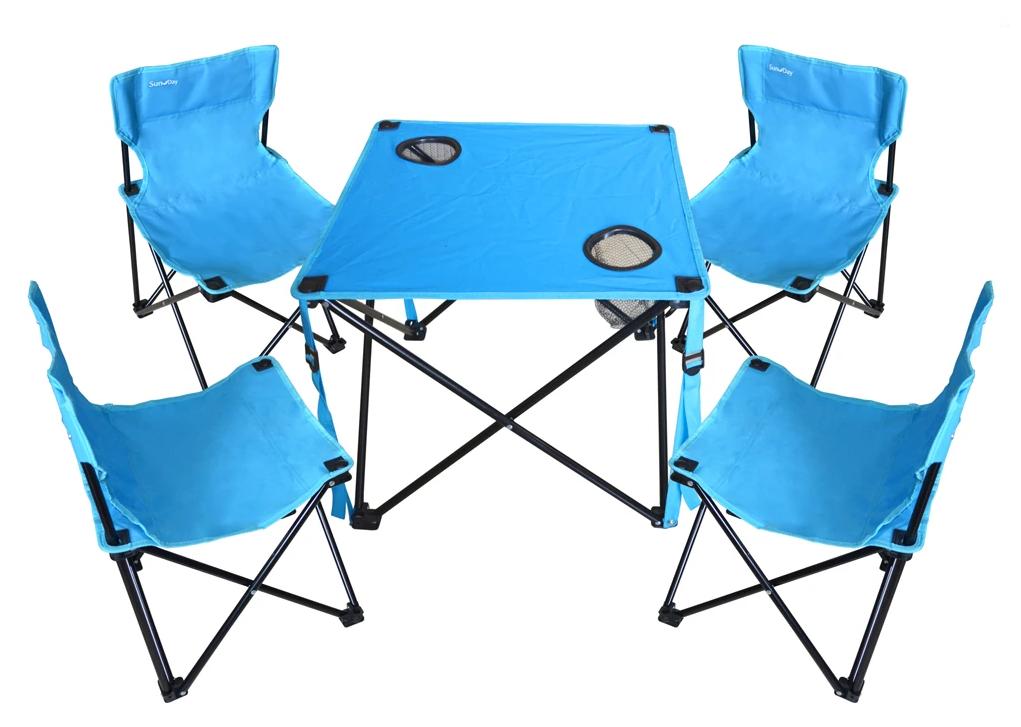 Стол раскладной текстильный Sunday и 4 стула со спинкой в чехле (73-812)