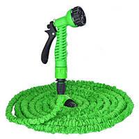 Поливочный растягивающийся шланг Xhose 52 м. Magic Hose (Икс-Хоз) для полива огорода и грядок - Зеленый, фото 1
