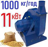 Зернодробилка молотковая KRAFT-11 (11 кВт, 1000 кг в час)