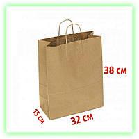 Бумажный подарочный Крафт пакет с кручеными ручками 320х150х380 - коричневый (25шт в уп.)