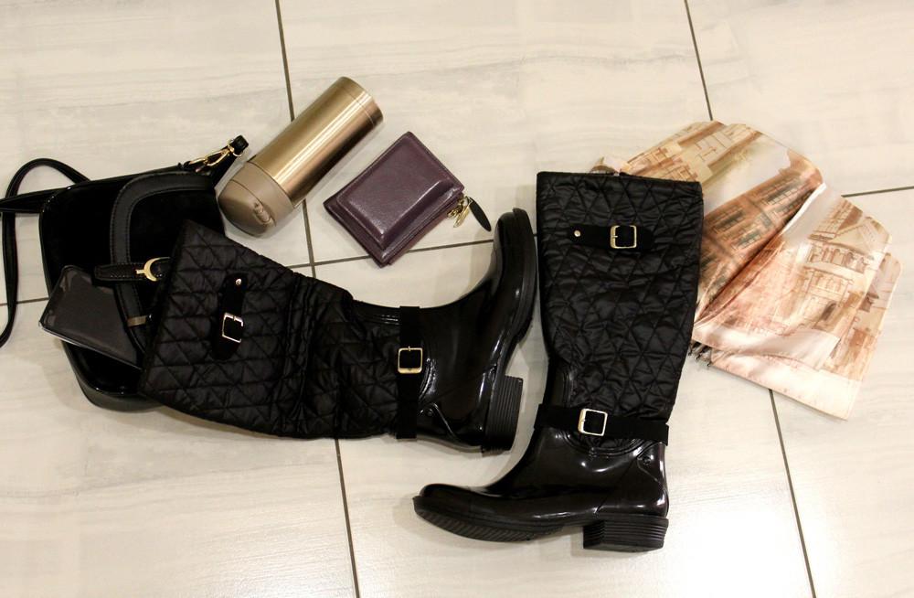 38р. Жіночі стильні гумові чоботи утеплені  (Г-3)