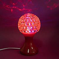Диско лампа настольная, RHD-48, Красный, ночной светодиодный светильник, вращающийся 3d ночник, фото 1
