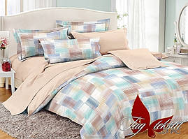 Полуторный комплект постельного белья поплин с компаньоном PC057
