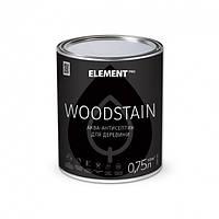 Аква-антисептик Белый для дерева WOODSTAIN Element 0,75л (Аквалазурь элемент)