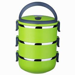 Термо-ланч бокс из нержавеющей стали Lunchbox Three Layers пищевой тройной для еды Салатовый (GK)