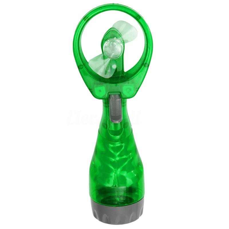 Портативный ручной мини вентилятор на батарейках, с распылением воды  Water Spray Fan, Зелёный, с водой (GK)