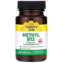 "Витамин В12, Country Life ""Methyl B12"" вишневый вкус, 5000 мкг (60 леденцов)"