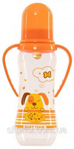 Buty`lochka dlya kormleniya plastikovaya s ruchkami i lateksnoj soskoj, 250 ml, 0+ / Baby Team, ar. 1311
