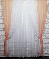 Комбинированные шторы (2шт. 1,5х2,4м) из шифона. Цвет: персиковый с белым. 023дк 10-152