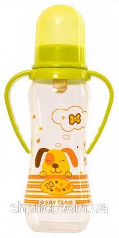 Buty`lochka dlya kormleniya plastikovaya s lateksnoj soskoj, 250 ml, 0+ / Baby Team, ar 1310