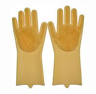 Перчатки силиконовые для мытья посуды хозяйственные для кухни Magic Silicone Gloves жёлтые, фото 1