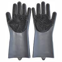 Хозяйственные силиконовые перчатки для уборки и мытья посуды Magic Silicone Gloves, Серые, фото 1