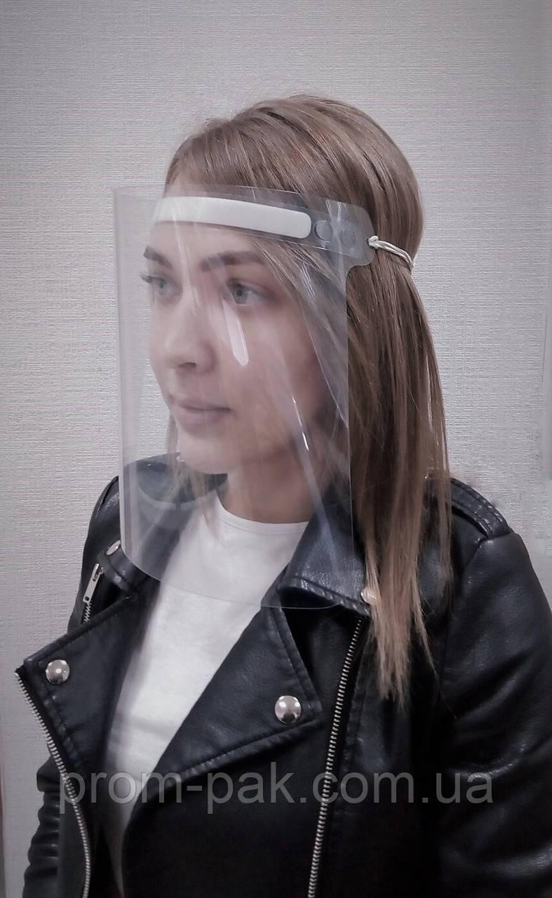 Защитный прозрачный экран для лица, маска на резинке. Щиток  из прозрачного пластика, универсальный размер