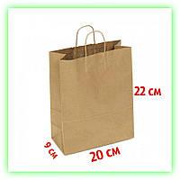 Бумажный пакет с кручеными ручками 200х90х220.Подарочный крафт-пакет с ручками для подарков, с дном (25шт/уп.)