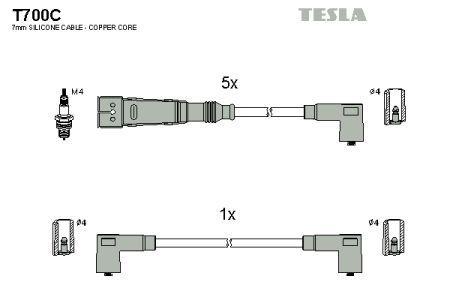 Провода зажигания AUDI 100, AUDI 200, AUDI 90, AUDI 80 TESLA T700C