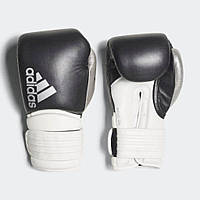 """Боксерские перчатки Adidas """"Hybrid 300"""" тренировочные, черный-серебро, кожаные"""