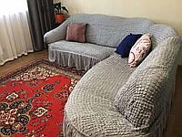 Кутовий натяжна чохол на диван накидка, фото 1