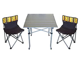 Стол раскладной алюминиевый Sunday и 2 стула со спинкой в чехле (73-813)