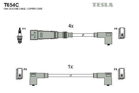Провода зажигания SEAT IBIZA, VOLKSWAGEN GOLF, VOLKSWAGEN POLO, VOLKSWAGEN VENTO TESLA T654C