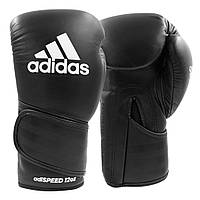 Боксерские перчатки Adidas Speed 501 Adispeed Strap up тренировочные, черные, кожаные