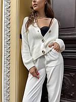 Фирменный стильный вязаный женский костюм прогулочный оверсайз, молоко