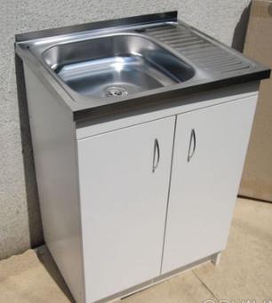 Кухонная мойка с тумбой 60 х 60 см Белый, фото 2