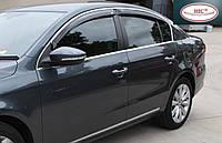 Дефлектори вікон (вітровики) Skoda Superb III 2015 -> Sedan З Молдингом Хром