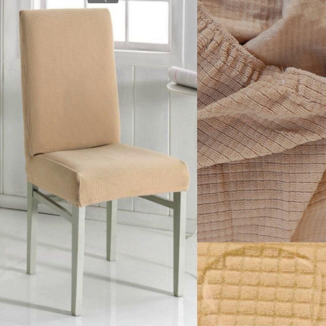 Универсальные натяжные стрейч чехлы накидки на стулья со спинкой для кухни турецкие водоотталкивающие Бежевые