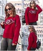 Джемпер женский новогодний свитер с орнаментом