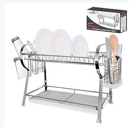 Двухъярусная металлическая сушилка для посуды Руан MH-0066 (10шт)