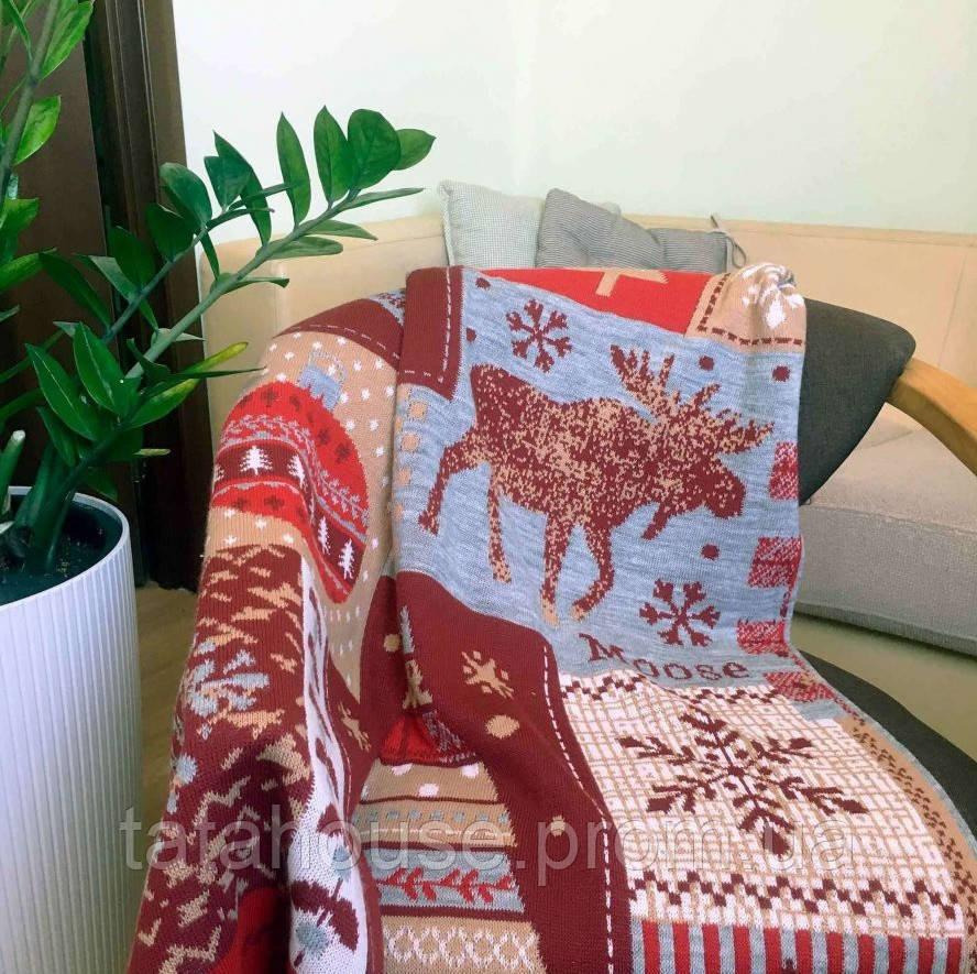 Красный новогодний плед Подарочки