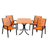 "Комплект мебели для летних кафе ""Таи"" стол (120*80) + 2 стула + 2 лавки Тик, фото 1"