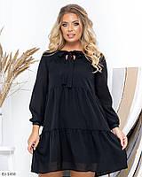 Свободное платье с бантиком большого размера, размеры 50, 52, 54, 56, 58