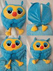 Подушка-игрушка с Пледом внутри Сова 30х30 голубая, фото 3