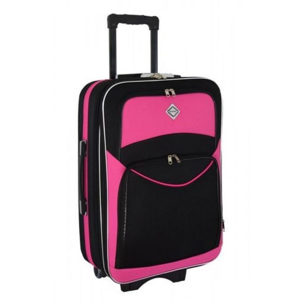 Текстильна валіза Bonro Style (середня) чорно-рожева