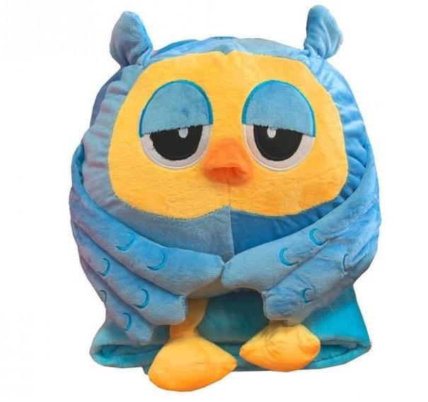 Подушка-игрушка с Пледом внутри Сова 30х30 голубая