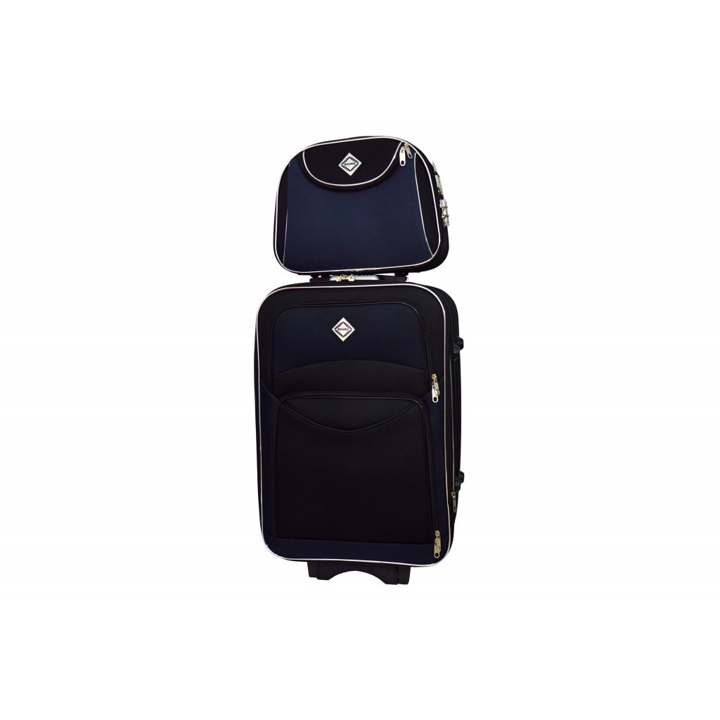 Комплект Чемодан + кейс Bonro Style (меленький) чорно-т. синий