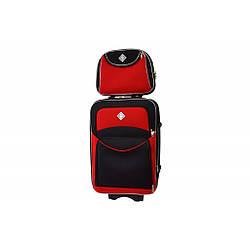 Комплект Валіза + кейс Bonro Style (середній) чорно-червоний